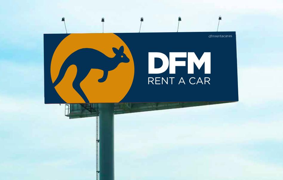 Nueva identidad corporativa de DFM Rent a Car, en un diseño de la agencia de publicidad 100x100 Comunicación+Creatividad.