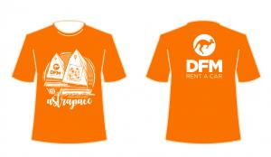 Diseño de la camiseta conmemorativa de la regata solidaria a favor de Astrapace, en la que participamos desde DFM Rent a Car.
