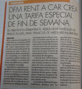 Noticia sobre la oferta de alquiler de vehículos de DFM Rent a Car en el diario La Opinión de Murcia.