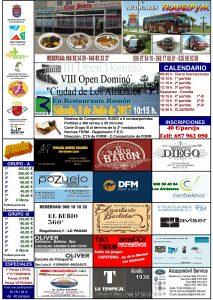 Cartel del Open de Dominó de Los Alcázares, un evento con el que colaboramos desde DFM Rent a Car.