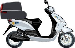 Moto Kymco de 125cc, que puedes alquilar al mejor precio en DFM Rent a Car.