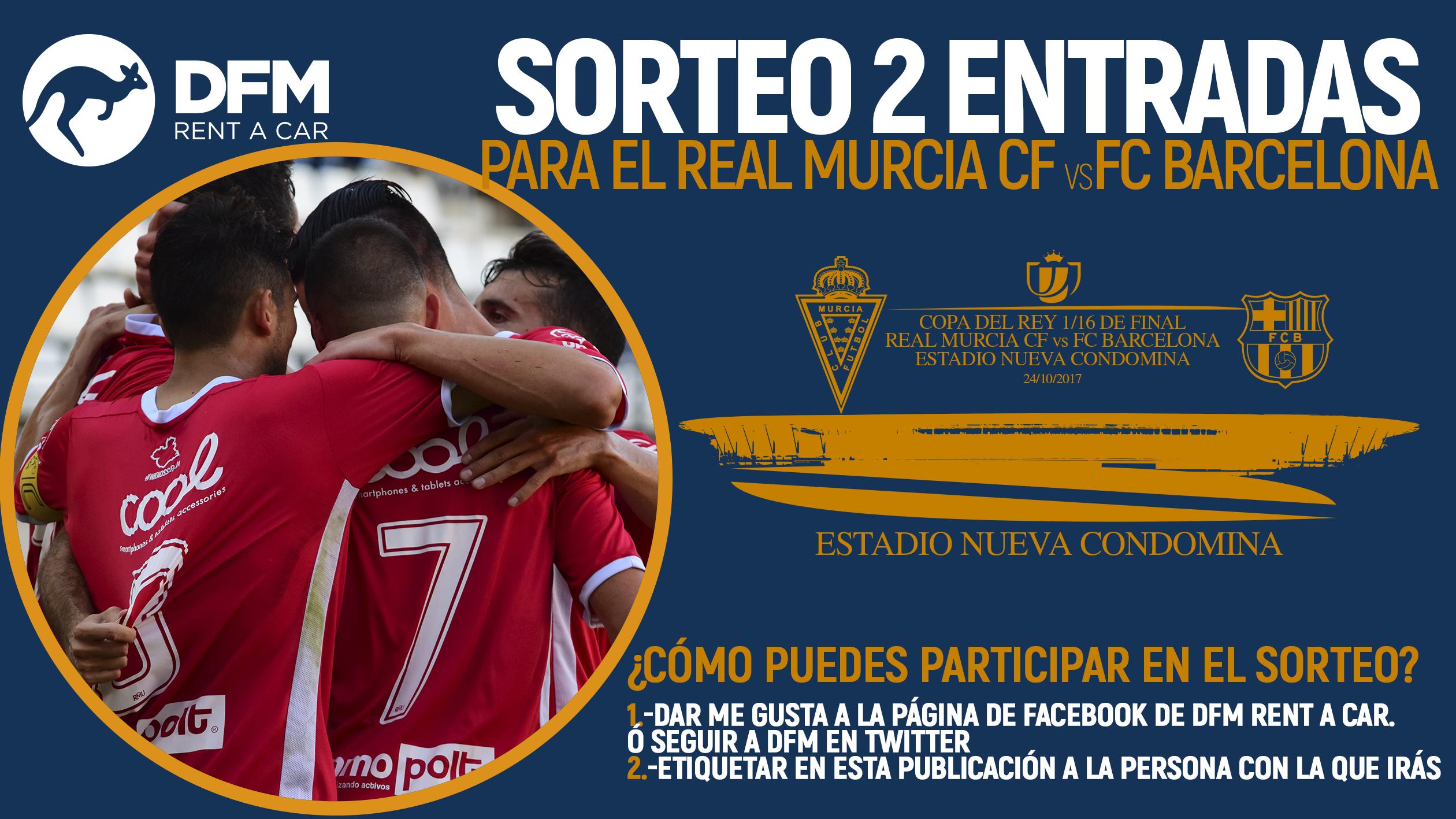 Sorteo de DFM Rent a Car para el partido de Copa del Rey entre el Real Murcia y el FC Barcelona