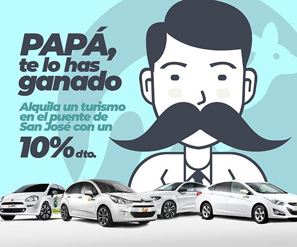 Oferta de DFM Rent a Car para el Día del Padre. Somos tu mejor opción en el alquiler de vehículos en el Mediterráneo.